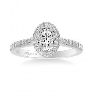 Artcarved 31-V323EVW-E Halo 14k White Gold Ladies Kate Engagement Ring