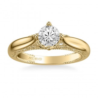 Artcarved 31-V759ERY-E Vintage 14k Yellow Gold Ladies Gayla Engagement Ring