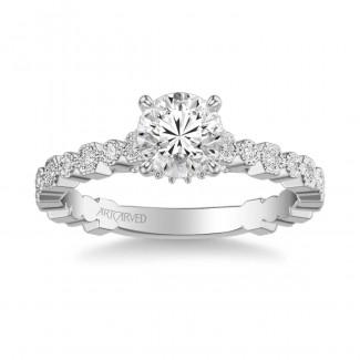 Artcarved 31-V823ERW-E Vintage 14k White Gold Ladies Louisa Engagement Ring