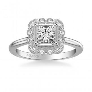 Artcarved 31-V828ECW-E Vintage 14k White Gold Ladies Mabel Engagement Ring