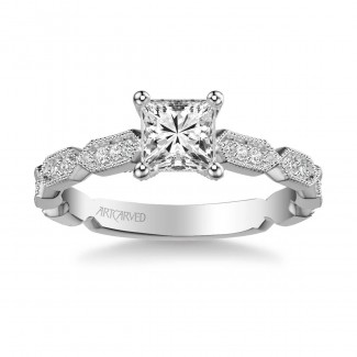 Artcarved 31-V846ECW-E Vintage 14k White Gold Ladies Cressida Engagement Ring