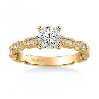 Artcarved 31-V846ERY-E Vintage 14k Yellow Gold Ladies Cressida Engagement Ring