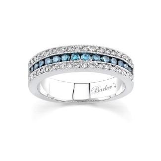 Barkevs White Gold Band With White & Blue Diamonds 6502LBDW