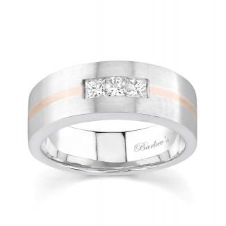 Two Tone Princess Cut Diamond Wedding Band 6774G