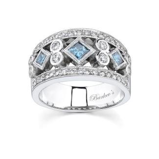 Barkevs White Gold Band With White & Blue Diamonds 6779LBDW