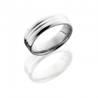 Lashbrook Titanium 6mm Beveled Band With Sterling Silver Inlay 6BDDD14/SS