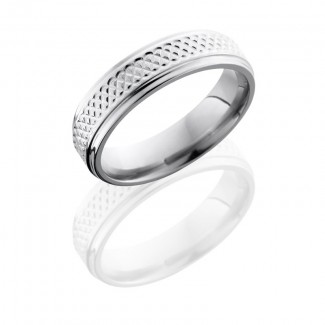 Lashbrook Titanium 6mm Flat Band With Grooved Edges And Weave Pattern 6FGETIGHTWEAVE
