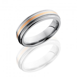 Lashbrook Titanium 6mm Flat Band With Rounded Edges, Milgrain, And 1mm 14Kr 6REF11/14KR2UMIL