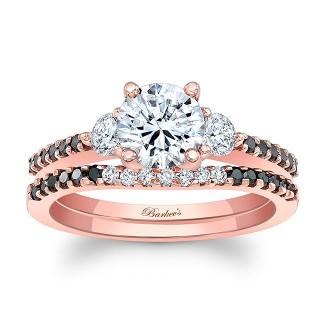 Barkevs Rose Gold Three Stone Ring 7539LPBKW