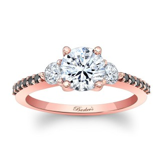 Rose Gold Three Stone Moissanite Ring MOI-7539LPBK