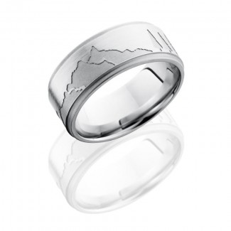 Lashbrook Cobalt Chrome 9mm Flat Band With Grooved Edges And Mountain Pattern CC9FGEMOUNTAIN