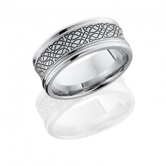 Lashbrook Cobalt Chrome 9mm Concave Band With Rounded Edges And Laser Carved Celtic 18 Pattern CC9RE