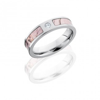 Lashbrook Cobalt Chrome 5mm Flat Band With 3mm Of Pink Realtree Ap And Flush Set White Round Diamond