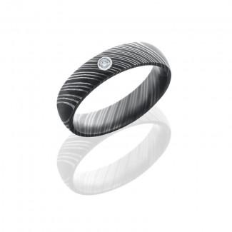 Lashbrook Damascus Steel 5mm Domed Band With Bezel Set .03Ct White Round Diamond D5DDIA.03B