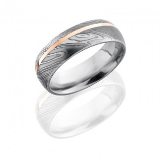 Lashbrook Damascus Steel 7mm Domed Band With 1mm 14Kr D7D11OC/14KR