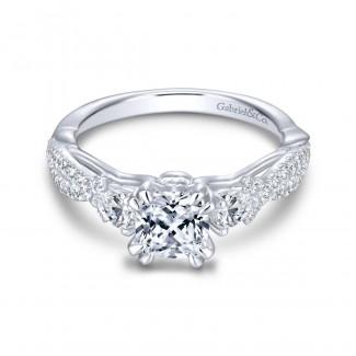 Gabriel & Co 14K White Gold Cushion Cut Three Stone Diamond Engagement Ring ER13900C4W44JJ