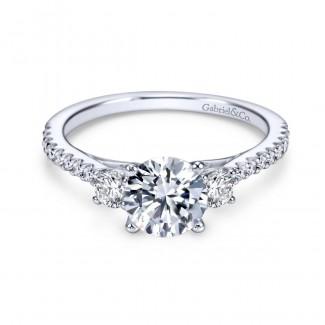 Gabriel & Co 14K White Gold Round Three Stone Diamond Engagement Ring ER7296W44JJ