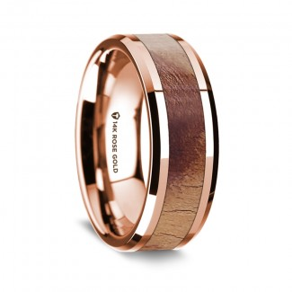 Thorsten 14K Rose Gold Polished Beveled Edges Men's Wedding Band G1678-BEOW
