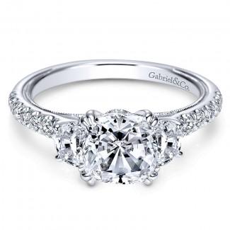 Gabriel & Co 14K White Gold Diamond 3 Stones Engagement Ring ER9186W44Jj