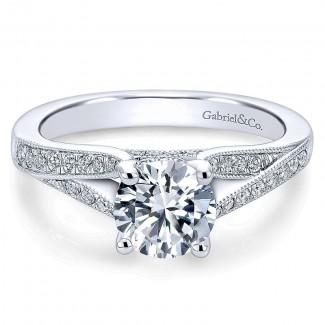 Gabriel & Co 14K White Gold Diamond Channel Split Shank Engagement Ring ER6389W44Jj
