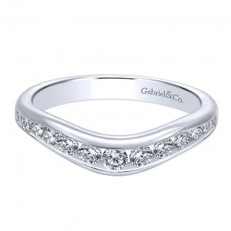 Gabriel & Co 14K White Gold Diamond Curved Anniversary Band AN10956W44JJ