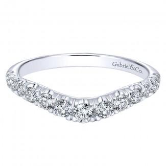 Gabriel & Co 14K White Gold Diamond Curved Anniversary Band AN10958W44JJ