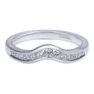 Gabriel & Co 14K White Gold Diamond Curved Anniversary Band AN10973W44JJ