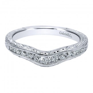 Gabriel & Co 14K White Gold Diamond Curved Anniversary Band AN10976W44JJ