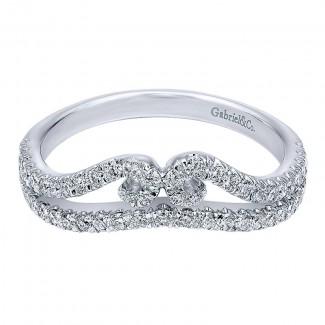 Gabriel & Co 14K White Gold Diamond Curved Anniversary Band AN11004W44JJ