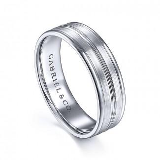 Gabriel & Co 14K White Gold Straight Wedding Band MBM0165-60W4JJJ