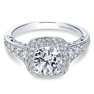 Gabriel & Co 14K White Gold Diamond Halo & Channel Milgrain Engagement Ring ER7293W44Jj
