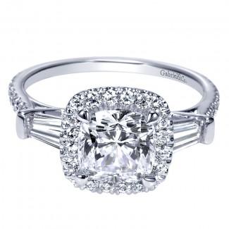 Gabriel & Co 14K White Gold Diamond Halo Engagement Ring ER9193W44JJ