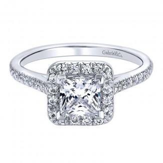 Gabriel & Co 14K White Gold Diamond Halo Engagement Ring ER9539W44JJ