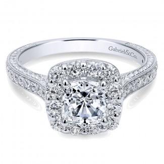 Gabriel & Co 14K White Gold Diamond Halo On A Channel & Milgrain Shank Engagement Ring ER7500W44JJ