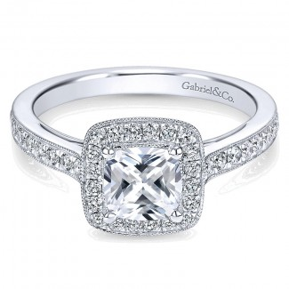 Gabriel & Co 14K White Gold Diamond Halo With Channel Setting Engagement Ring ER7527W44Jj