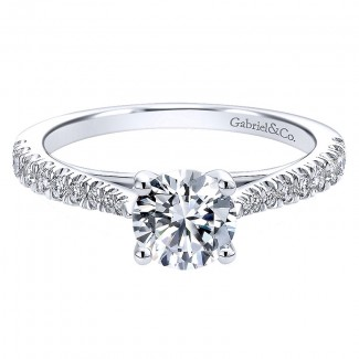 Gabriel & Co 14K White Gold Diamond Pave Straight With Cathedral Setting Engagement Ring ER12291R3 ER12291R3W44JJ
