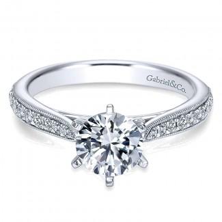 Gabriel & Co 14K White Gold Diamond Straight Channel & Milgrain Engagement Ring ER6687W44Jj