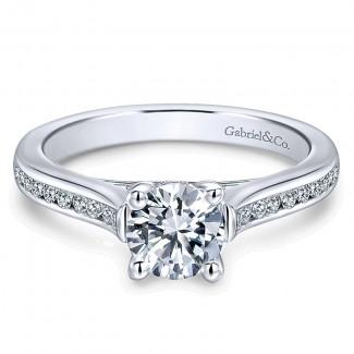 Gabriel & Co 14K White Gold Diamond Straight Channel Engagement Ring ER12321R3W44Jj