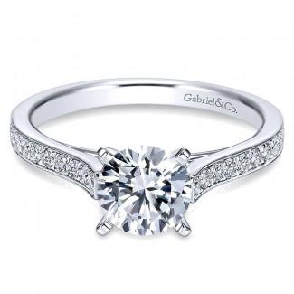 Gabriel & Co 14K White Gold Diamond Straight Channel Engagement Ring ER7444W44Jj