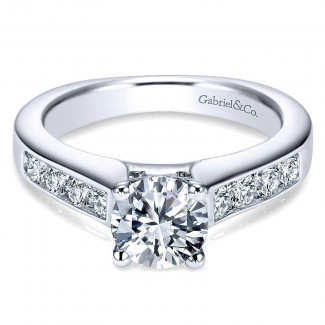 Gabriel & Co 14K White Gold Diamond Straight Channel With European Shank Engagement Ring ER3962W44JJ