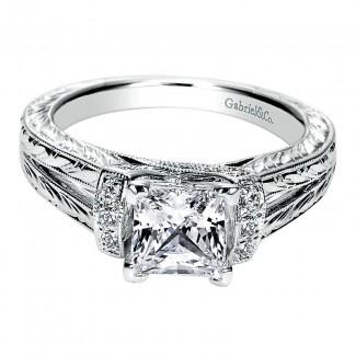 Gabriel & Co 14K White Gold Diamond Straight Engagement Ring ER9202W44JJ