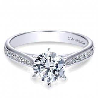Gabriel & Co 14K White Gold Diamond Straight With Channel Setting Engagement Ring ER7229W44Jj