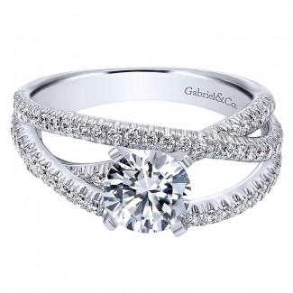 Gabriel & Co 14K White Gold French Pave Free Form Basket Center Diamond Engagement Ring ER10204W44 ER10204W44JJ