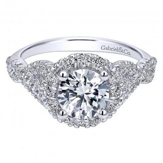Gabriel & Co 14K White Gold Pave Diamond Halo Twisted Shank Engagement Ring ER11722R4W44Jj