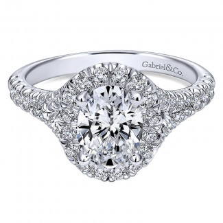 Gabriel & Co 14K White Gold Pave Shank & Oval Diamond Halo Engagement Ring ER10291W44Jj