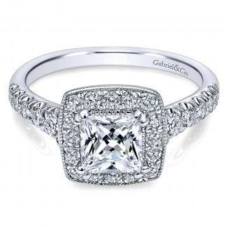 Gabriel & Co 14K White Gold Pave Shank & Princess Cut Diamond Halo Engagement Ring ER10907W44Jj