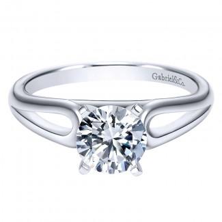 Gabriel & Co 14K White Gold Solitaire Engagement Ring ER9181W4JJJ