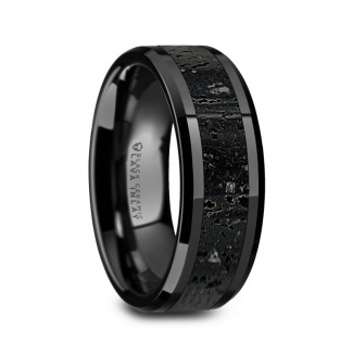 Thorsten VESUVIUS Men's Polished Black Ceramic Wedding Band  W1491-BCLI