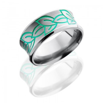 Lashbrook Titanium 10mm Concave Band With Beveled Edges And Leaf Pattern 10CBLEAVES