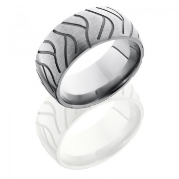 Lashbrook Titanium 10mm Domed Band With Tire Tread Pattern 10DCYCLESUPER2
